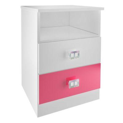 Velador 2 cajones blanco/rosado