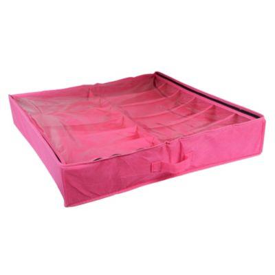 Porta zapatos bajo de cama rosa