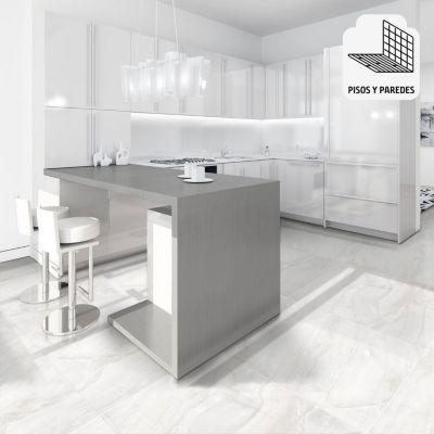 Gres Porcelanico Darinka Blanco Marmolizado 60x60cm para piso o pared