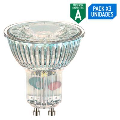 Pack x3 Focos LED Dicroicos 4W Gu10 Luz Amarilla