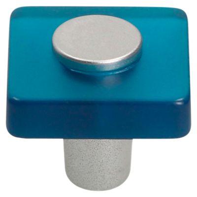 Perilla Cuadrada Metacrilato Azul Cromado Mate