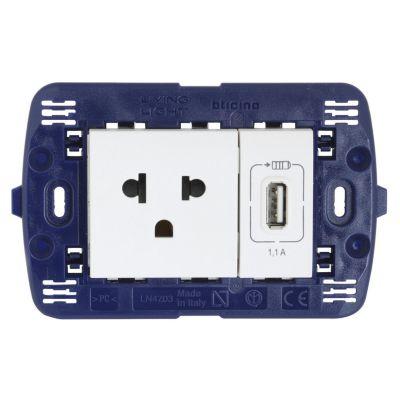USB / Euro Americano 2 Puertos + Tierra Blanco