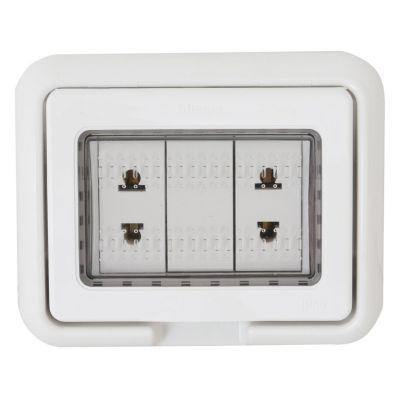 Tomacorriente Idrobox Doble Universal Living Light Blanco