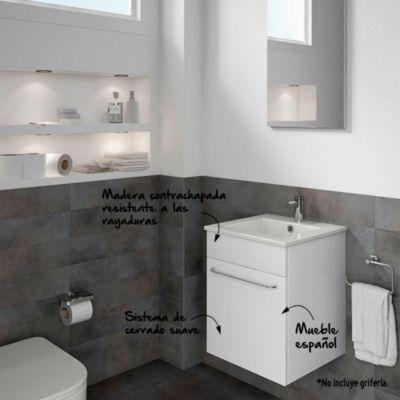 Kit Mueble de baño + lavamanos + espejo Qubo