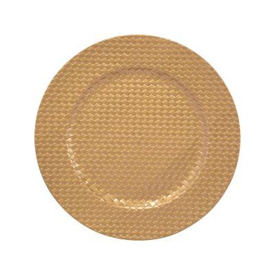 Plato decorativo texturado dorado 33cm