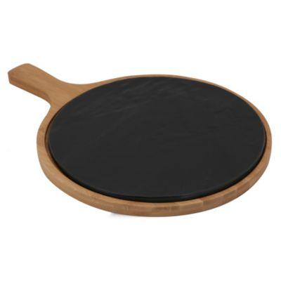 Tabla para piqueos negra y bambú