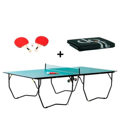 Mesa de Ping Pong + Set de 2 Paletas y 3 Pelotas + Cobertor