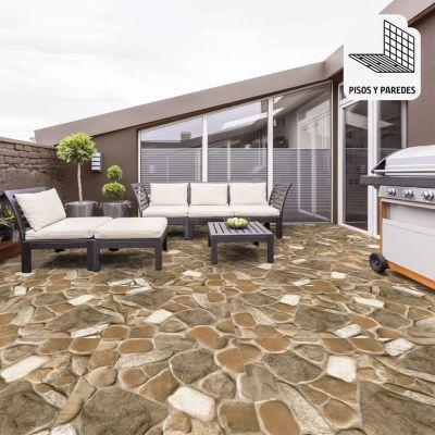 Gres Porcelanico Strong Rock Beige Con Relieve 60x60cm para piso o pared