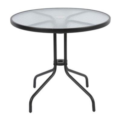 Mesa redonda negra con vidrio 80 cm