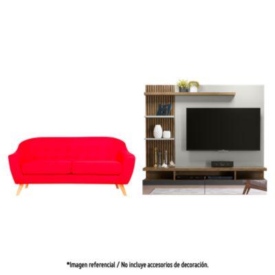 Sofá 3 cuerpos Jurgen rojo + Panel TV Vitoria Avellana 60''