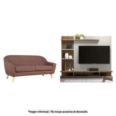 Sofá 3 cuerpos Jurgen chocolate + Panel TV Vitoria Avellana 60''