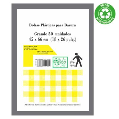 Bolsa para basura biodegradables grandes pack x 50