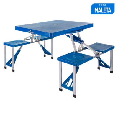 Set de mesa plegable 134 x 82 cm Azul