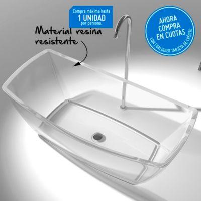 Tina de baño transparente rectangular 350 l