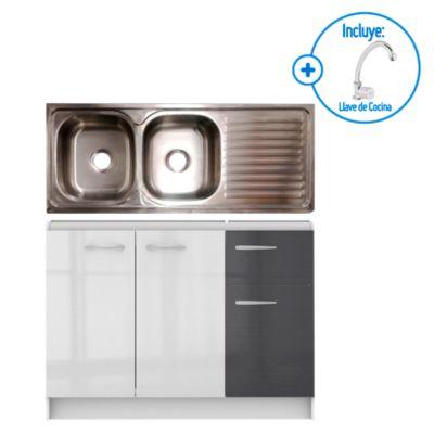 Lavadero 2 pozas con escurridero 120x50cm + Mueble base 120cm (blanco/gris) + Grifería de cocina al mueble Sevilla