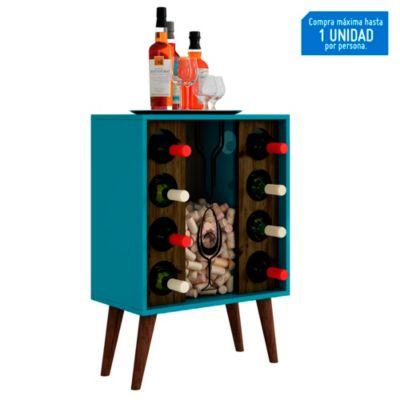 Mueble Bar 8 botellas acuamarine/roble