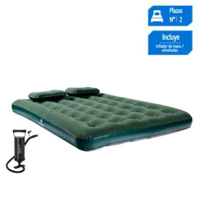 Colchón 2 plazas + almohadas + inflador