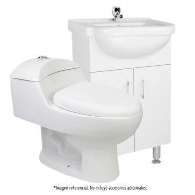 Combo Mueble Vanitorio Blanco 50x83x45cm + Inodoro One Piece Lara Plus blanco