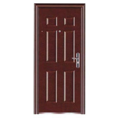 Puerta Seguridad de Acero 6 paneles Roble Izquierda 86 x 205 cm Marco y Cerradura incluido