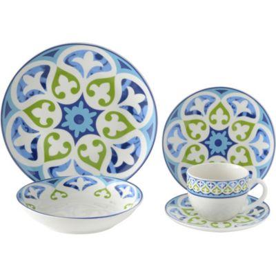 Set Vajilla mandala azul 20 piezas