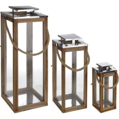 Faroles de Madera y Aluminio x 3 Unidades