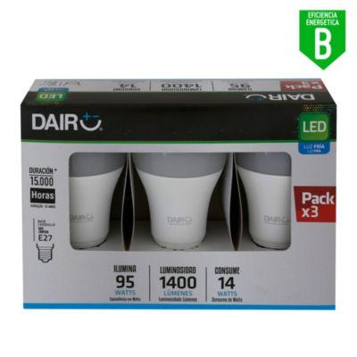 Pack de 3 focos Led 14W E27 luz blanca