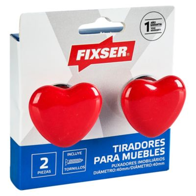 Pack de 2 Pomos 40mm Corazón Rojo