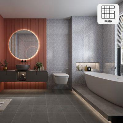 Cerámica Rombo Gris Marmolizado 30x60 cm para pared