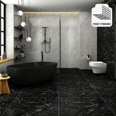 Porcelanato Vitrificado Negro Marmolizado 60x60 cm para piso o pared