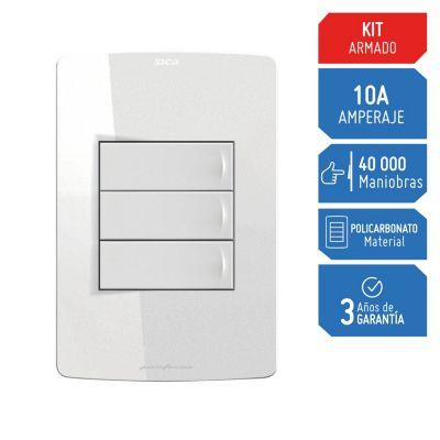 Interruptor Triple Silight Blanco