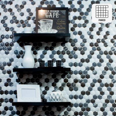 Cerámica Mosaico Hexagonal Blanco 34x50 cm para pared