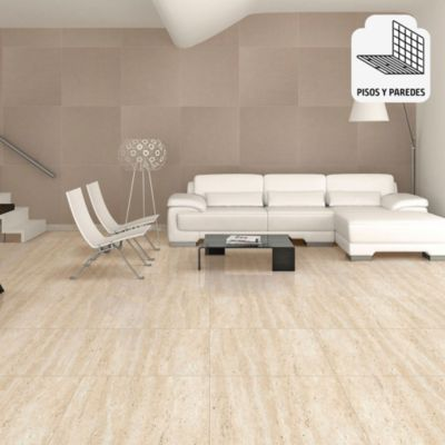 Porcelanato Travertino Beige Marmolizado 60x60 cm para piso o pared
