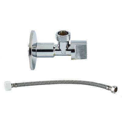 Válvula Angular de 1/2'' con Tubo de Abasto de Aluminio Reforzado