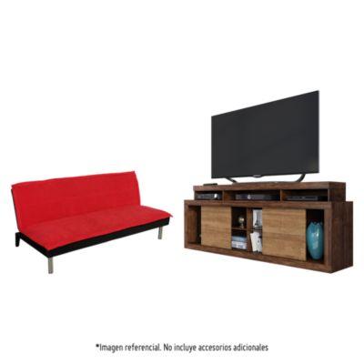 "Mesa TV Titan 70"" + Sofá Cama Versalles Rojo 181x91x76"