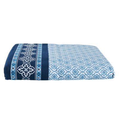 Mantel Redondo Azul con Celeste 180cm