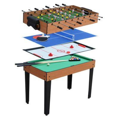 Mesa de Juegos 4 en 1 Fulbito, Billar, Hockey y Tennis