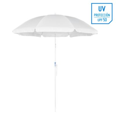 Sombrilla de playa 50UV 2m Blanco