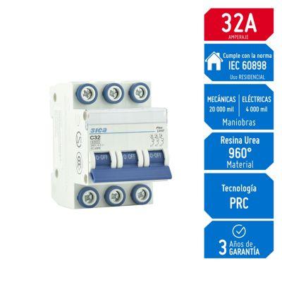Interruptor Termomagnético 3x32A Sica