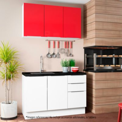 Mueble de cocina Modular Stella 120 cm Rojo