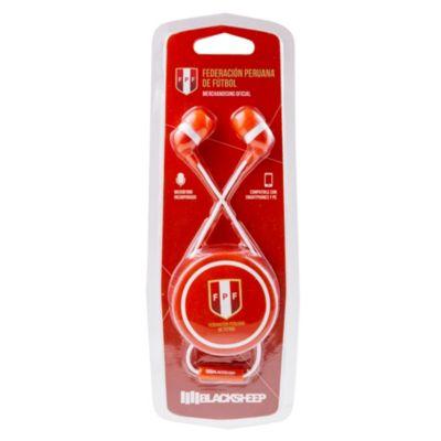 Audífonos con Micrófono Perú Blanco con Rojo
