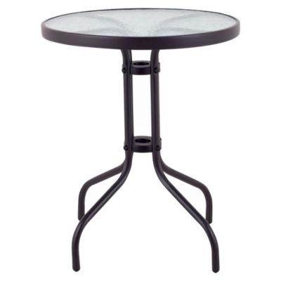 Mesa redonda con Vidrio 60 cm Negra