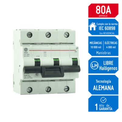 Interruptor T/Riel 3x80A