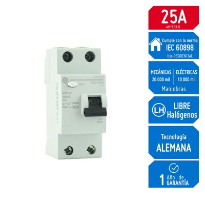 Interruptor Diferencial 2x25A General Electric