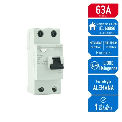 Interruptor Diferencial 2x63A General Electric