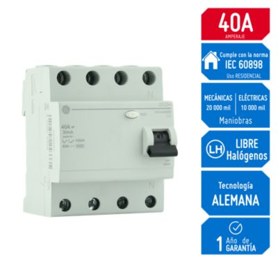 Interruptor Diferencial 4x40A General Electric