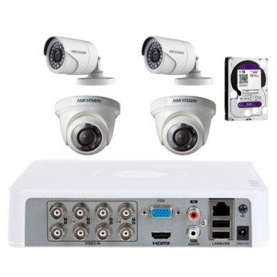 Kit 4 Cámaras de Seguridad + DVR 7108HGH1-F1 + 1 HDD