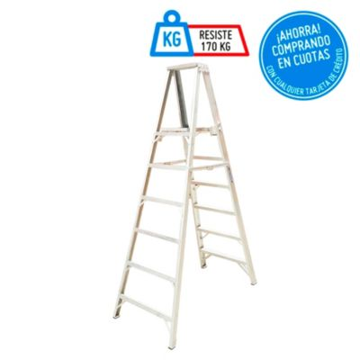 Escalera Tijera Duraluminio 6 Pasos Profesional con plataforma