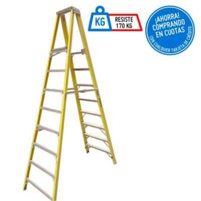 Escalera Tijera Fibra de Vidrio 8 Pasos Profesional con plataforma y plástico reforzado