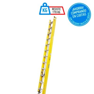 Escalera Profesional Telescópica Fibra-Vidrio 24 Pasos