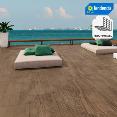 Porcelanato Tablón Extint Wood Marrón Maderado 30x120 cm para piso o pared